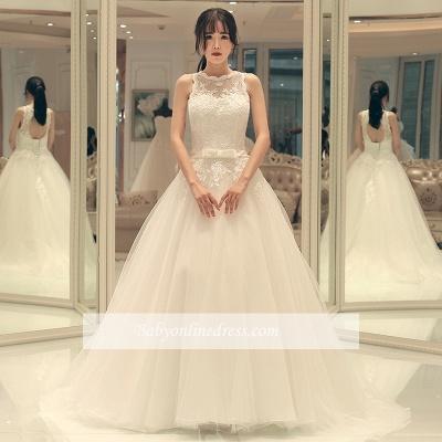 A-line Bow Sleeveless Lace-up Sweep Train Elegant Wedding Dresses_1