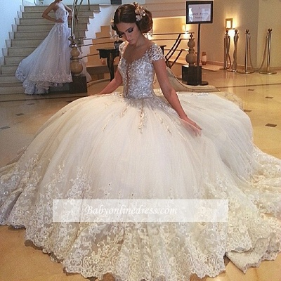 Cap-Sleeves Tulle Beaded Ball Gown Crystals Lace Gorgeous Wedding Gowns_1
