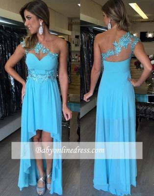 Applique Sleeveless Hi-Lo Chiffon One-Shoulder Empire Prom Dresses_1