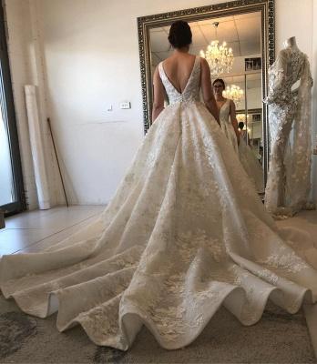 V-neck Lace Wedding Dresses | Sleeveless Puffy Bridal Gowns_2
