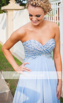 Chiffon Light-Blue Sweetheart Long Empire Crystal A-Line Prom Dresses_3
