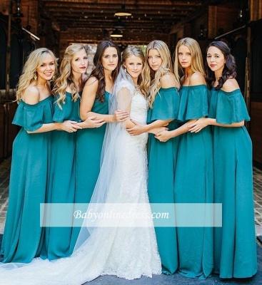 Elegant Hunter Off Chiffon Wedding Elegant Shoulder Long Party Green Bridesmaid Dress_1