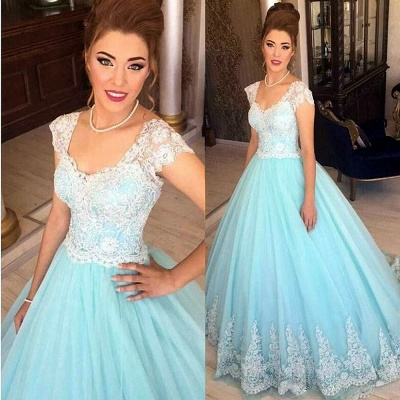 A-Line White Blue Lace Tulle Prom Dresses 2018 Floor Length Quinceanera Dresses_3