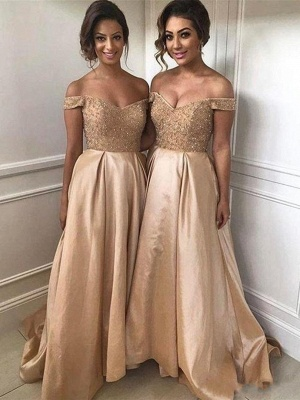 Geogrous A-Line Bridesmaid Dresses | Off-The-Shoulder Beading Maid Of The Honor Dresses_1