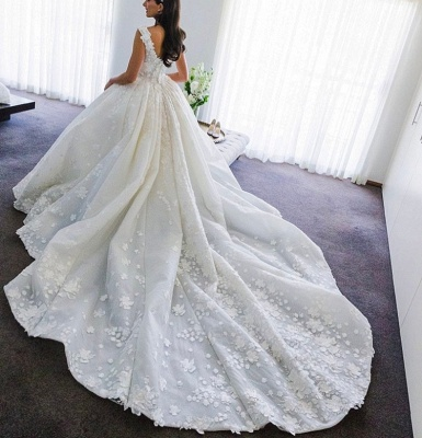 Gorgeous Ball Gown Wedding Dresses | Straps Floral Princess Bridal Gowns_5