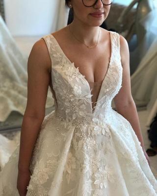 V-neck Lace Wedding Dresses | Sleeveless Puffy Bridal Gowns_3