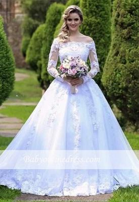 Long-Sleeve Princess Button Lace Zipper Wedding Dresses_1
