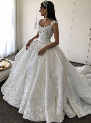 Gorgeous Ball Gown Wedding Dresses | Straps Floral Princess Bridal Gowns_1