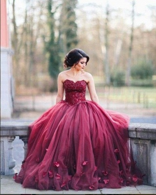 Burgundy Ball Gown Wedding Dresses Sweetheart Neck with  Prom Dress_1