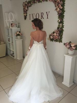 Elegant A-line Long Sleeves Wedding Dresss Applique Tulle_4
