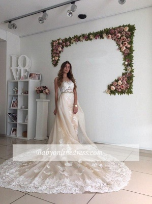Gorgeous Detachable-Cathedral-Train Mermaid Lace Tulle Ivory Wedding Dresses_1