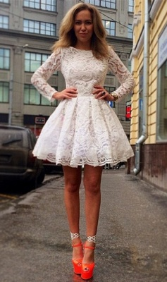 A-Line Long Sleeve Lace Homecoming Dresses White Short Cocktail Dresses_1