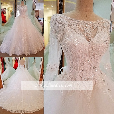 A-line Sequins Sweep Train Long-Sleeves Lace Wedding Dresses_1