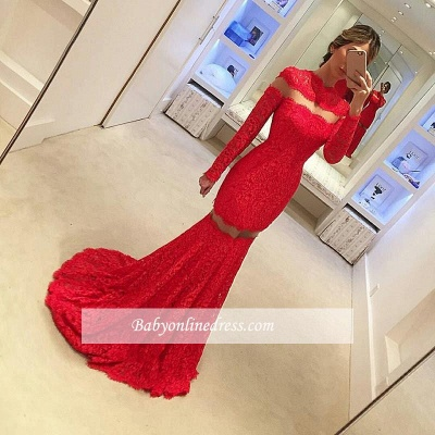 2018 Sexy Mermaid Lace Prom Dress Long Sleeve Red Sweep Train Evening Gowns_1