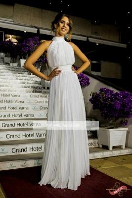 Elegant Chiffon Ruched White High Neck Long Prom Dress_1