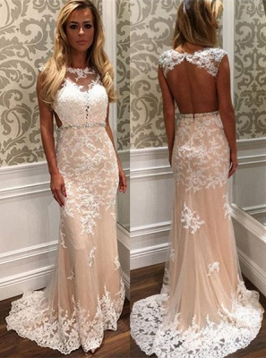 Gorgeous Tulle Lace Open Back Crystal Long Prom Dress BA4294_2