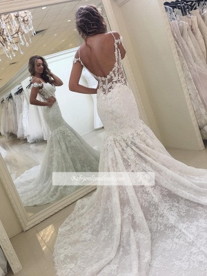Off-the-shoulder Lace Fit and Flare Modern Wedding Dresses_1