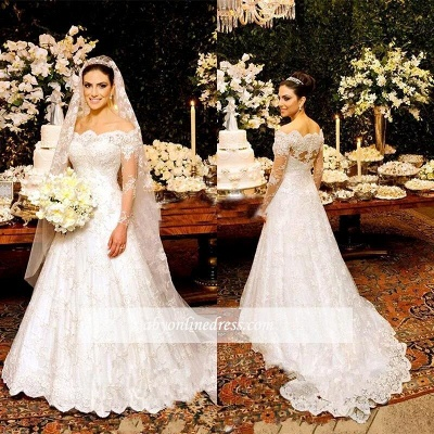 Zipper Long-Sleeve Button Lace Beautiful Wedding Dresses_1