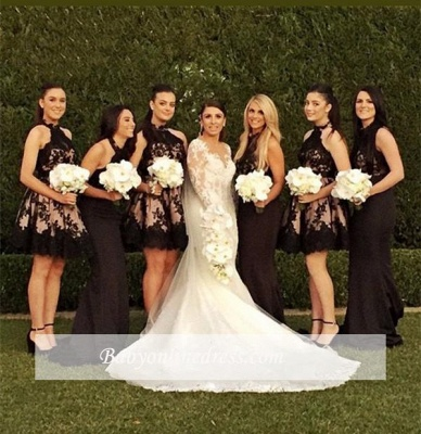 A-Line Sleeveless Applique Halter High-Neck Short Bridesmaid Dresses_1