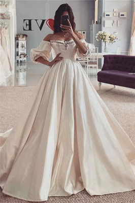 Puffy Sleeves Vintage Ball Gown Off the Shouder Sweetheart Wedding Dresses_1