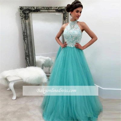 High-Neck Tulle Elegant A-line Lace Sleeveless Evening Dress_1