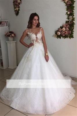 Beach White A-Line Lace Appliques Court-Train Tulle Wedding Dresses_1