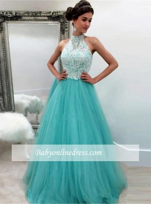 High-Neck Tulle Elegant A-line Lace Sleeveless Evening Dress_3