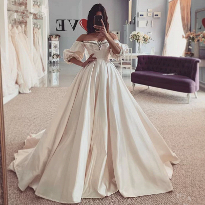Puffy Sleeves Vintage Ball Gown Off the Shouder Sweetheart Wedding Dresses_2