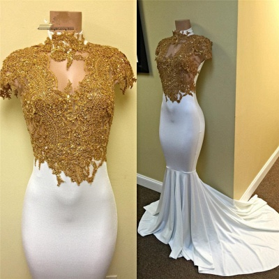 Gorgeous Mermaid Cap-Sleeve White Gold-Appliques Prom Dress_3