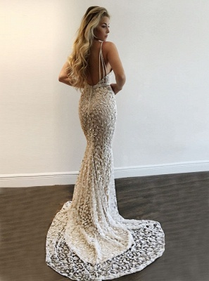 Sexy Spaghettis Straps Evening Gowns | V-Neck Open Back Prom Dresses_3