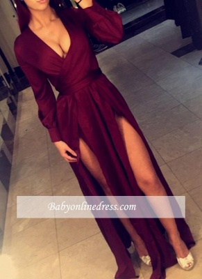 Sexy Long Burgundy Long Sleeves Evening Gowns Side-Slits Party Dresses_4
