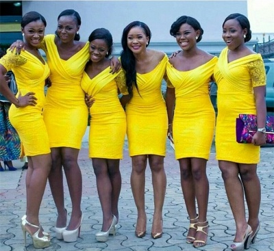 Bodycon Off-the-shoulder Sexy Yellow Mini Lace Bridesmaid Dress_3