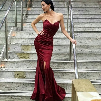 Burgundy Mermaid Prom Dresses Ruched Front Slit Long Sexy Evening Gowns_3