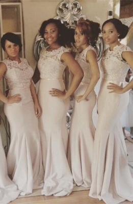 Lace Top Mermaid Bridesmaid Dresses Sleeveless with Sash Long Formal Wedding Party Dresses_2