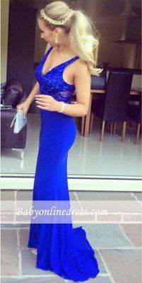 Sequined V-Neck Sexy Long Royal-Blue Mermaid Sleeveless Evening Dresses_3