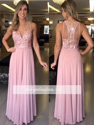 A-Line V-Neck Pink Sleeveless Lace Long Chiffon Prom Dresses_1