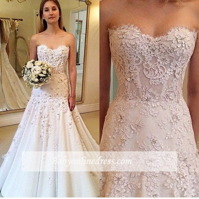 Gorgeous Sweetheart A-Line Appliques Lace Wedding Dresses with zipper_1