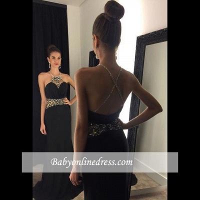 Newest Sleeveless Black Prom Dress 2018 Crystal Jewel Evening Gowns_3