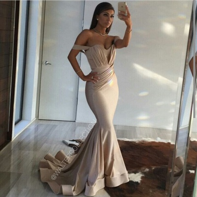 Long Mermaid Prom Dresses Off the Shoulder Ruched Ruffles Train Sexy Evening Gowns_2