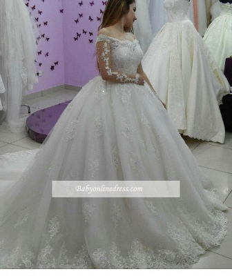 Ball-Gown Tulle Off-The-Shoulder Lace-Applique Long-Sleeves Pearls Wedding Dresses_1