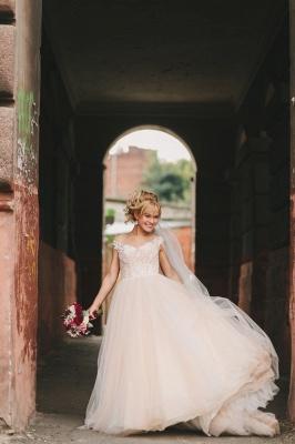 Appliques Gorgeous Tulle Floor-Length Princess Cap-Sleeve Lace Wedding Dresses_2