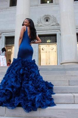 Fabulous Straps Mermaid Prom Dresses | Sleeveless Ruffles Skirt Evening Gowns_3