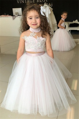 Pink Sweetheart Lovely Two-Pieces Flower Tulle Appliques Girl Dresses_2