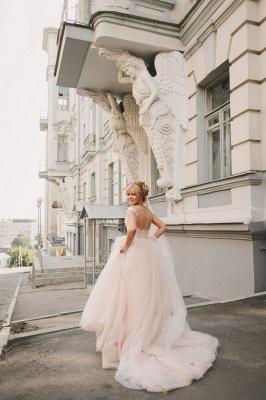 Appliques Gorgeous Tulle Floor-Length Princess Cap-Sleeve Lace Wedding Dresses_3