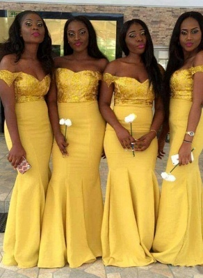 New Yellow Mermaid Bridesmaid Dresses | Sequins Off-the-Shoulder Maid of the Honor Dress_1