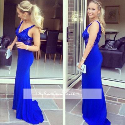 Sequined V-Neck Sexy Long Royal-Blue Mermaid Sleeveless Evening Dresses_1