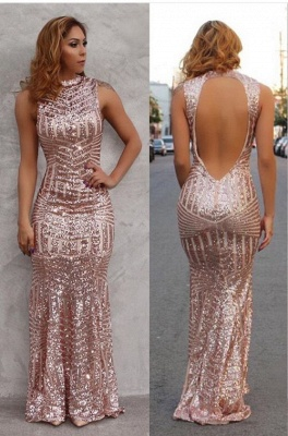 Sexy Mermaid Sequined Open Back Prom Dress Floor Length Evening Gowns_1