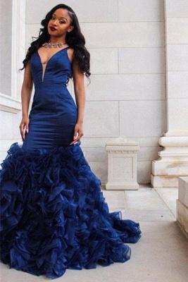 Fabulous Straps Mermaid Prom Dresses | Sleeveless Ruffles Skirt Evening Gowns_5