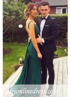 Elegant Sheath Backless Green Prom Dresses Peals Scoop Evening Dress_3