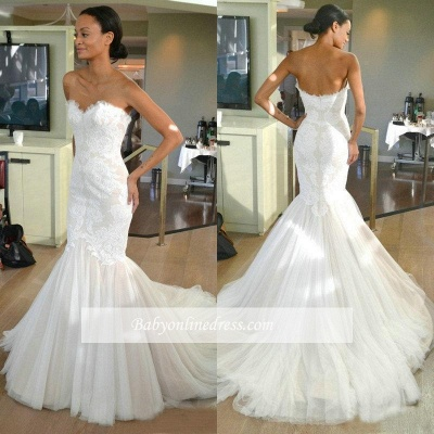 Tulle Sleeves Strapless Lace Mermaid Wedding Dresses with Sweep train_1
